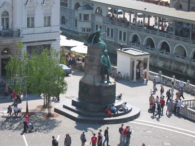Ljubljana - Spomenik Francetu Prešernu, pogled s Čopove ulice